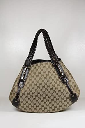 9850574aeaccda Amazon.com: Gucci Handbags Large Beige Canvas and Leather 137621: Clothing