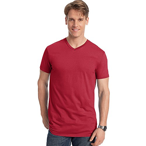 Hanes Men's Nano-T V-Neck T-Shirt_Vintage Red_XL ()