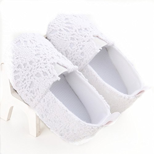 Estamico Baby Girl Net Yarn Floral Slip On Shoes Moccasins White Us 5