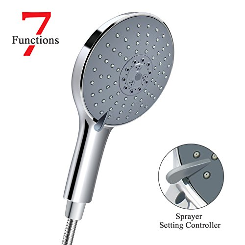 LEEFE EXTRA LARGE Hand Held Shower Head with 7 Spray Settings | 6