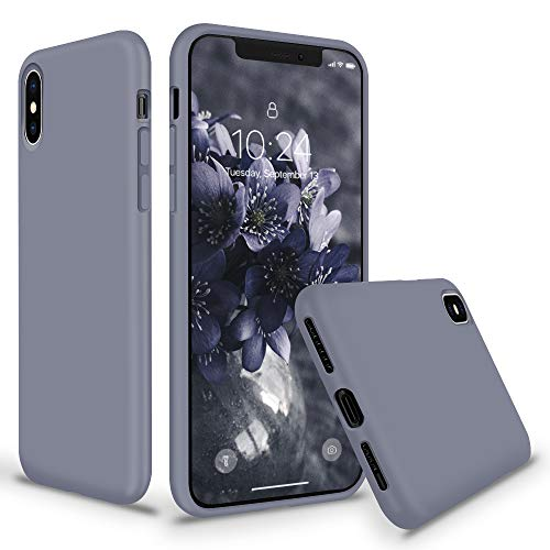 SURPHY Silicone Case for iPhone Xs iPhone X Case, Thicken Liquid Silicone Shockproof Protective Case Cover (Full Body Thick Case with Microfiber Lining) Compatible with iPhone X XS 5.8, Lavender Gray