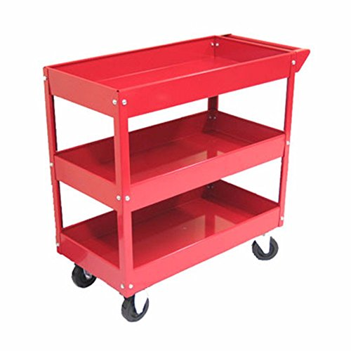 Mobile Utility Tray - Excel 3-Tray Rolling Metal Tool Cart - Highly Convenient & Mobile Steel Storage Solution in Red Color