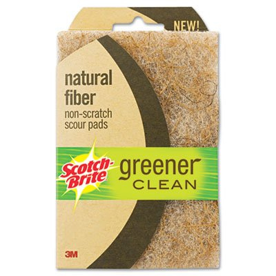 3M Scotch-Brite 97223 Greener Clean Natural Fiber Non-Scratch Scour Pad, 2-Pack