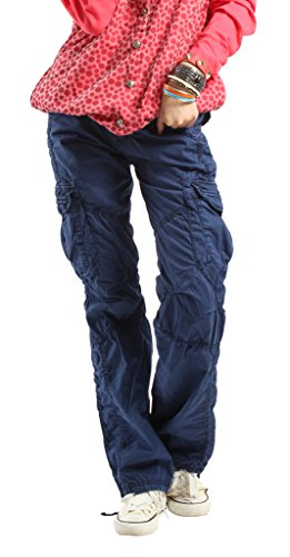 SKYLINEWEARS Women's Casual Cargo Pants Solid Military Army Styles Cotton Trousers Blue M