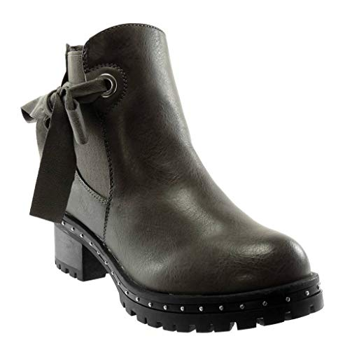 Cm Chelsea Di Scarponcini Stivaletti Elastico Grigio Nodo Boots Moda Elegante Foderato 5 on A Scarpe Donna Borchiati Blocco Pelliccia Alto Angkorly Tacco Slip nR4Ux