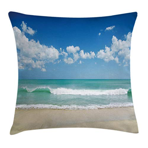 Modern Decor Throw Pillow Cushion Cover by Ambesonne, Sandy Beach with Bright Skyline in the Island Coastal Peaceful Print, Decorative Square Accent Pillow Case, 18 X18 Inches, Turquoise Cream ()