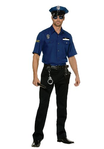 Dreamgirl Men's You're Busted Cop Costume, Blue, Medium (Adult Cop Belt)