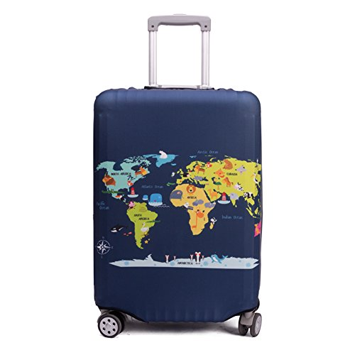 Madfifennina Washable Spandex Travel Luggage Protector Baggage Suitcase Cover Fit 23-32 Inch (M(23-25 luggage), Map)