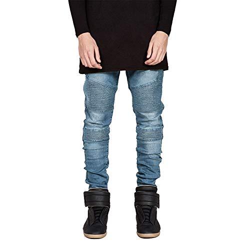 Pantalon Maigre Biker Hommes Déchiré Moto Homme Light Slim En Comradesn Jeans Blue Jean Fit Streetwear Joggers zBnT4T