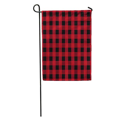 zhurunshangmaoGYS Garden Flag Red Basket Buffalo Plaid Picnic Abstract Black Checkered Cooking Drapery Home Yard House Decor Barnner Outdoor Stand 12x18 Inches Flag