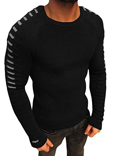 Taoliyuan Mens Ribbed Knit Striped Sweater Winter Casual Long Sleeve Slim Fit Lightweight Pleated Pullover Sweater
