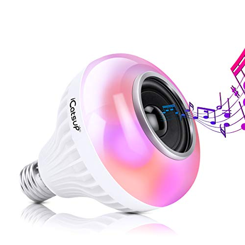 ICATSUP RGB LED Speaker Light Bulb, Color Changing Light Bulb with Bluetooth Speaker, 6W LED Bulb with Remote Control for Home Decor, Holiday Decor, Stage and Party