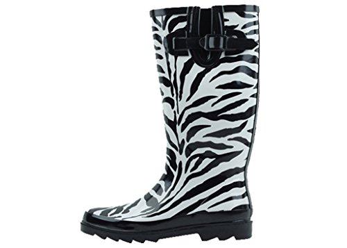 Sunville New Womens Zebra Print Rubber Rain Boots Size 10 (Zebra Print Boots)