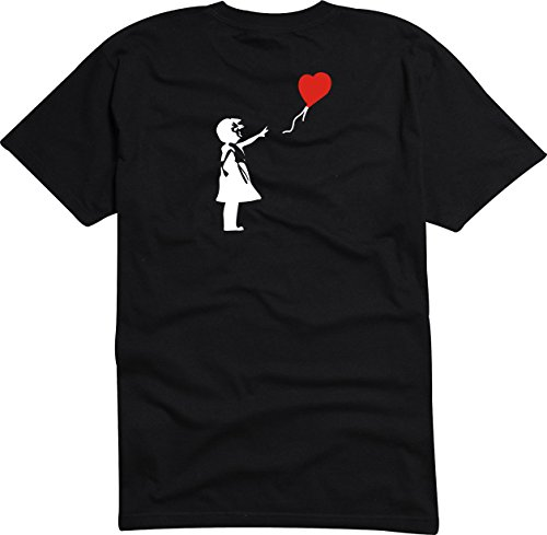 T-Shirt Herren schwarz - digital - Girl with the rot Balloon Banksy Heart - S