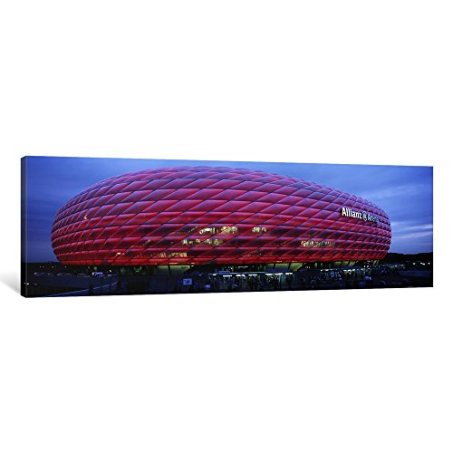 iCanvasART 1 Piece Soccer Stadium Lit up at Dusk, Allianz Arena, Munich, Germany Canvas Print by Panoramic Images, 36 x 12''/1.5'' Deep by iCanvasART