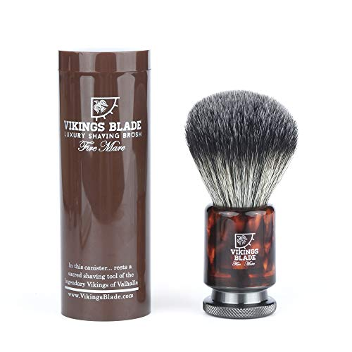 VIKINGS BLADE Luxury Shaving Brush, Heavy Weight Gunmetal Steel Base + Polished Faux Tortoise Acrylic (Fire Mare)