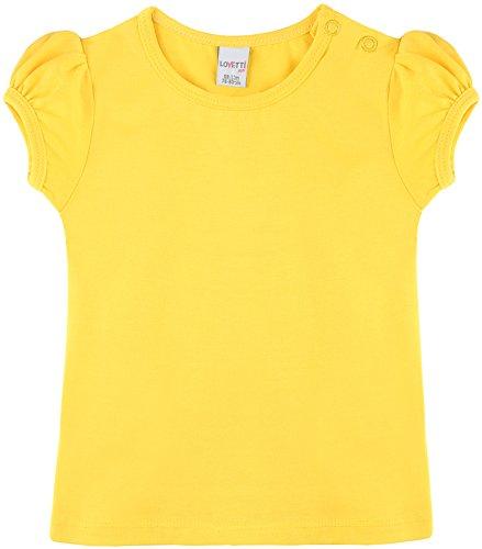 Lovetti Baby Girls' Basic Short Puff Sleeve Round Neck T-Shirt 12-18M Yellow ()