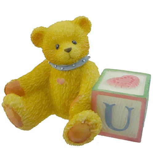Cherished Teddies BEAR WITH ABC BLOCK Resin Teddy Bear Miniature Block 158488 U ()