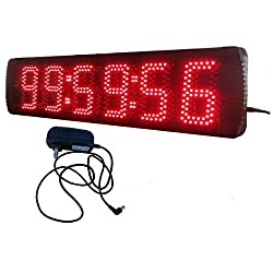 AZOOU 5-inch Hight Character Single Sided LED Sport Timing Clock Countdown/up Timer with IR Remote Control Red Color