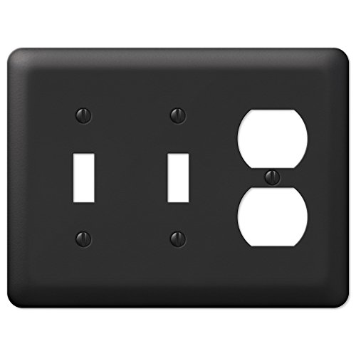 Black Metal Double Toggle Switch Duplex Outlet Wall Plate Cover Combo Enamel Finish