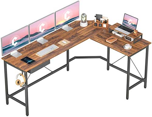 CubiCubi L-Shaped Desk Computer Corner Desk, Home Office Gaming Table, Sturdy Writing Workstation with Small Table and Drawers, Space-Saving, Easy to Assemble, Dark Rustic