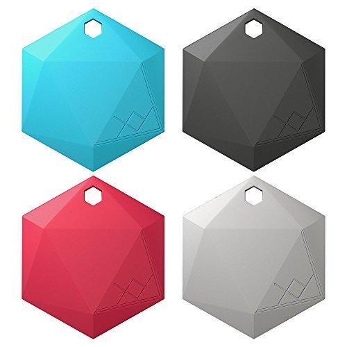 [XY3.1 Item Finder by XY Findables | Bluetooth Item Locator | Find Your Lost Keys, Wallet, Phone, Etc | Bluetooth Low Energy 4.0 Tracker | Sleek Hex Design | QTY 4 (Aquamarine, Onyx, Ruby, Silver)] (Aqua Onyx)