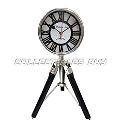 Collectibles Buy Vintage WILLIAM SONS OXFORD Roman Retro Tripod Desk Clock Antique Wooden Stand Tabletop Retro Black