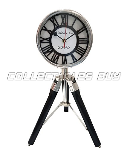Collectibles Buy Vintage WILLIAM SONS OXFORD Roman Retro Tripod Desk Clock Antique Wooden Stand Tabletop Retro Black