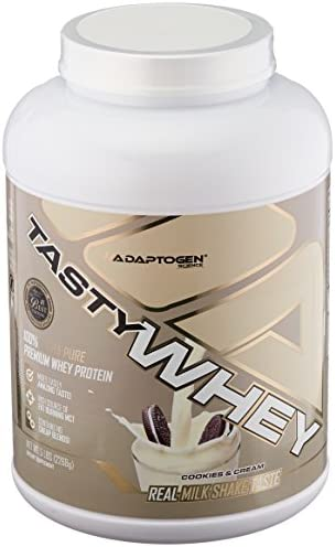 Adaptogen Science Tasty Whey, Ultra Pure Protein with Real Milk Shake Taste Added MCTs for Natural Fat Burning, Cookies Cream, 5 Pound