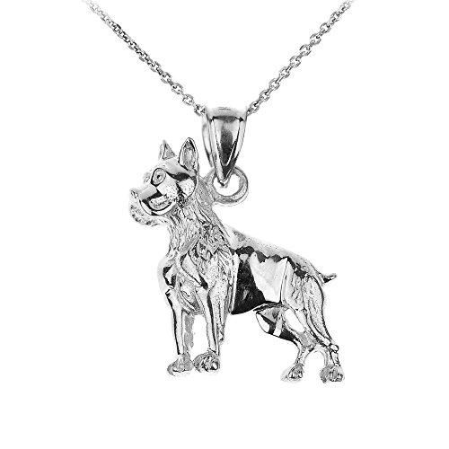 Polished 14k White Gold Boxer Dog Charm Pendant Necklace, (White Gold Boxer Dog)