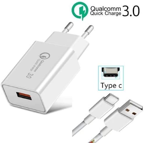 TopChargeur - Cargador Adaptador de alimentación, Cargador de 5 V, 3,6 A, 3600 mA 18 W, Quick Charge 3.0, Qualcomm Xiaomi Redmi Note 7 Mi 9 Mi A2 Mi 8 + Cable USB Tipo C Incluido