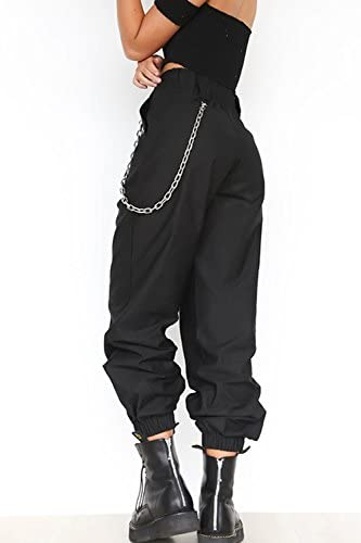 La Mujer Haren Pantalones Casual Solida Suelto Pantalones De Tobillo Con Cadena Pantalones Ropa