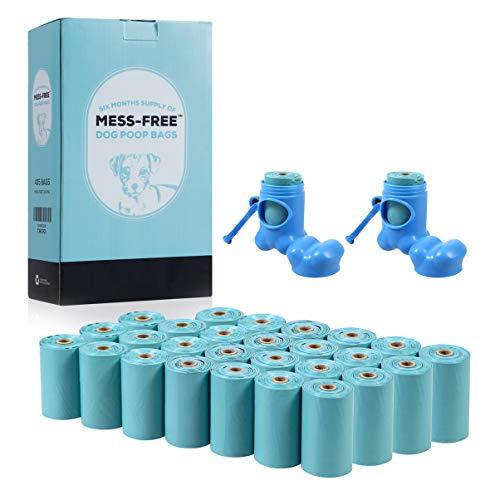MESS-FREE Dog Poop Bag (405 Count) - 27 Rolls Leak-Proof Dog Waste Bags - Dog Bag Refill Rolls - Dog Poop Bags Earth Friendly - Eco Friendly Dog Poop Bags - Dispenser & 2 Holder