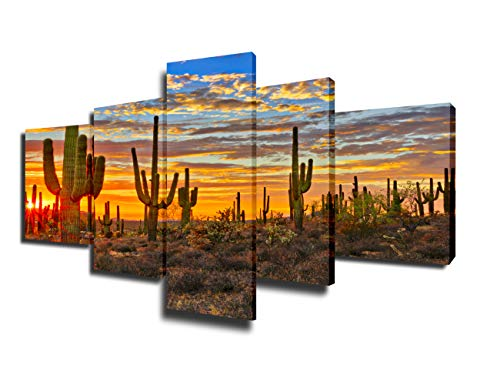 (Native America Decor Arizona Desert Paintings for Living Room Saguaro Cacti Mountains Pictures 5 Piece Canvas Wall Art Modern Artwork Framed Gallery-wrapped Stretched Ready to Hang(50''Wx24''H) )