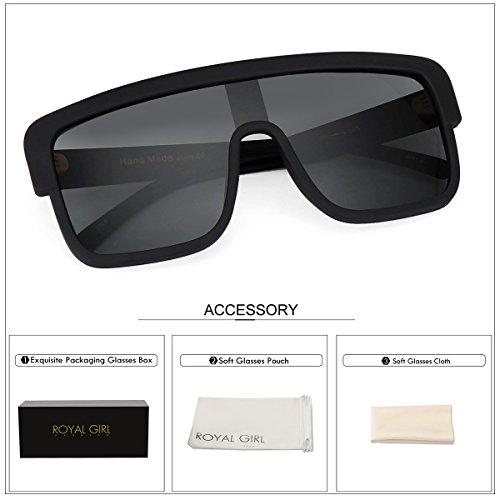 ROYAL GIRL Premium Oversized Sunglasses Women Flat Top Square Frame Shield Fashion Glasses (Matte Black, 77) by ROYAL GIRL (Image #6)