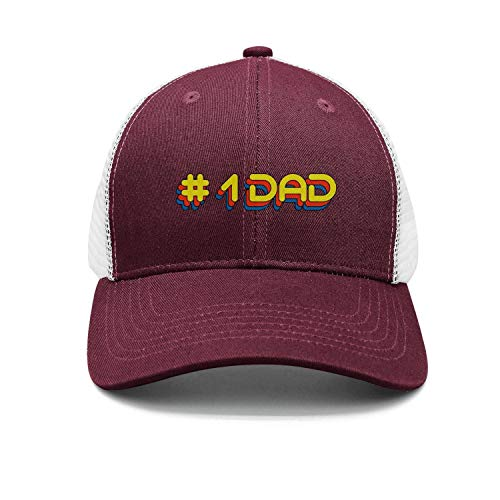 (Unisex Number 1 Dad Embroidered Pigment Dyed Mesh Sandwich Mesh Baseball Cap Adjustable Snapback Dad Hat)