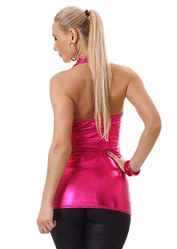 Mujer Neck Holder Top Camiseta con cuello de Wet Look rückenfrei figurbetont Rosa