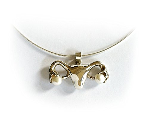 Uterus Necklace in Silver and Pearls by Bioperspective Art and Jewelry