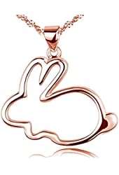 Eove Women Sterling Silver Cute Small Bunny Pendants Necklaces Gifts For Women Girl