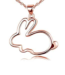 "Eove Women Sterling Silver Cute Small Bunny Pendants Necklaces Gifts For Women Girl+Height:0.85""(22mm) Width:0.97""(26mm) Chain Length:18""(450mm)+Rose Gold"