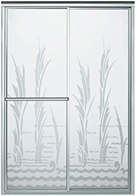 STERLING 5975-48S-G25 70-Inch H x 43-7 8 – 48-7 8-Inch W Shower Door Bypass with Creek Side Glass, Silver