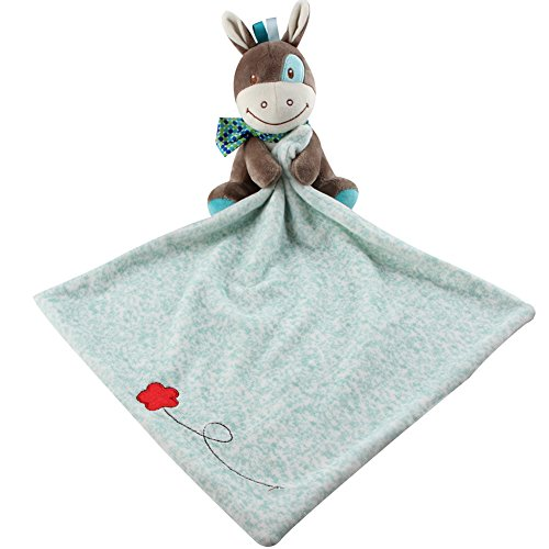 Plush Soft Adorable (Adorable Soft Security Blanket with Plush Donkey for Baby or Toddler - Newborn Baby Shower Gift)