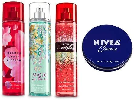 Bath and Body Works 3 Pack Fine Fragrance Mist 8 Oz. Japanese Cherry Blossom, Magic in the Air and A Thousand Wishes. Travel Size Creme 1 Oz.