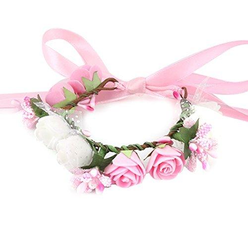 eDealMax Lady Mousse Party 8 Heads Floral artificiel poignet Fleur Danse Dcor bricolage Rose Blanc