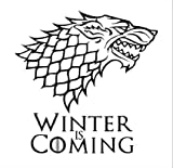 Vinyl Decal Sticker - Game of Thrones Winter is Coming - Stark Dire Wolf for wall, vehicle, computer, home decor (12 inch wide, Matte Black)