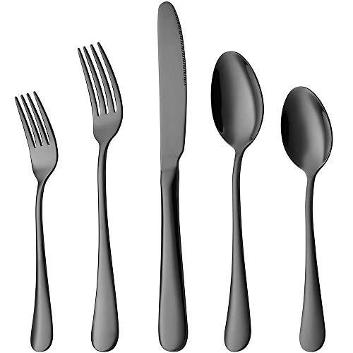 Black Silverware Set, Devico 20-Piece Stainless Steel Metal Flatware Utensils Cutlery set for 4, Mirror Polished…