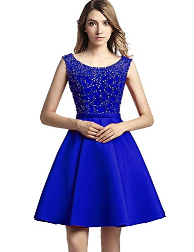 (Sarahbridal Womens Short Homecoming Cocktail Dress 2019 Stain Pearls Wedding Party Bridal Gowns Royal Blue US16)
