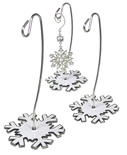 Christmas Ornament Stand - Set of 3 Snowflake Themed Ornament Hangers - White Glittered Snowflake Base (White Snowflakes Metal)