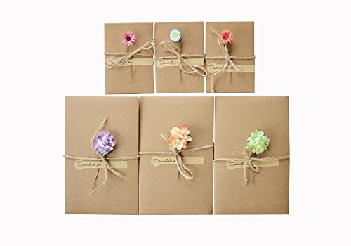 10PCS Handmade Greeting Card DIY Retro Kraft Paper Blank Envelopes Eternal Life Dried Flowers Decorated Postcard Blank Note Card Set