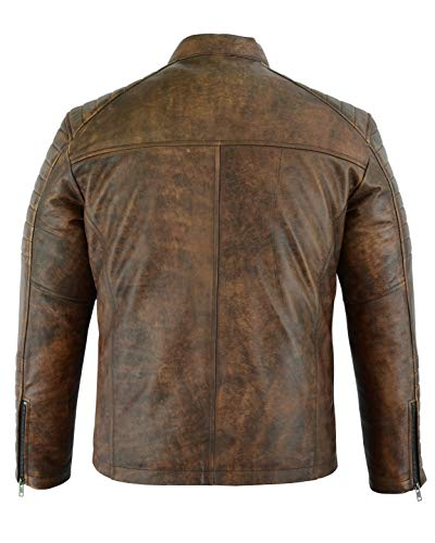 Mens Casual Biker Fashion - Leather Soft Touch Jacket - Moto Style - in 5 Colours